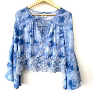 Hollister flowy top with bell sleeves